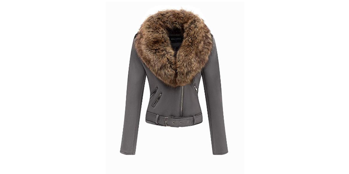 Bellivera Women's Faux Suede Moto Jacket