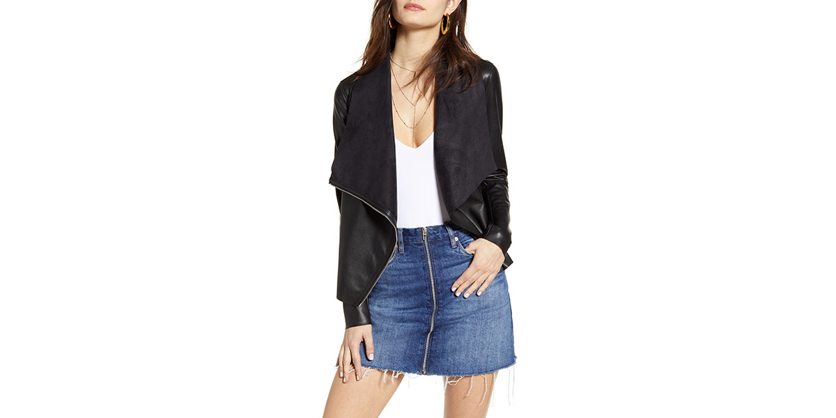 BLANKNYC Onto the Next Faux Leather Drape Front Jacket