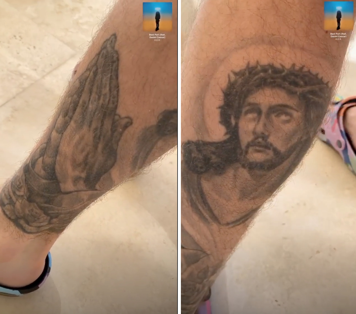 Justin Bieber leg tattoos