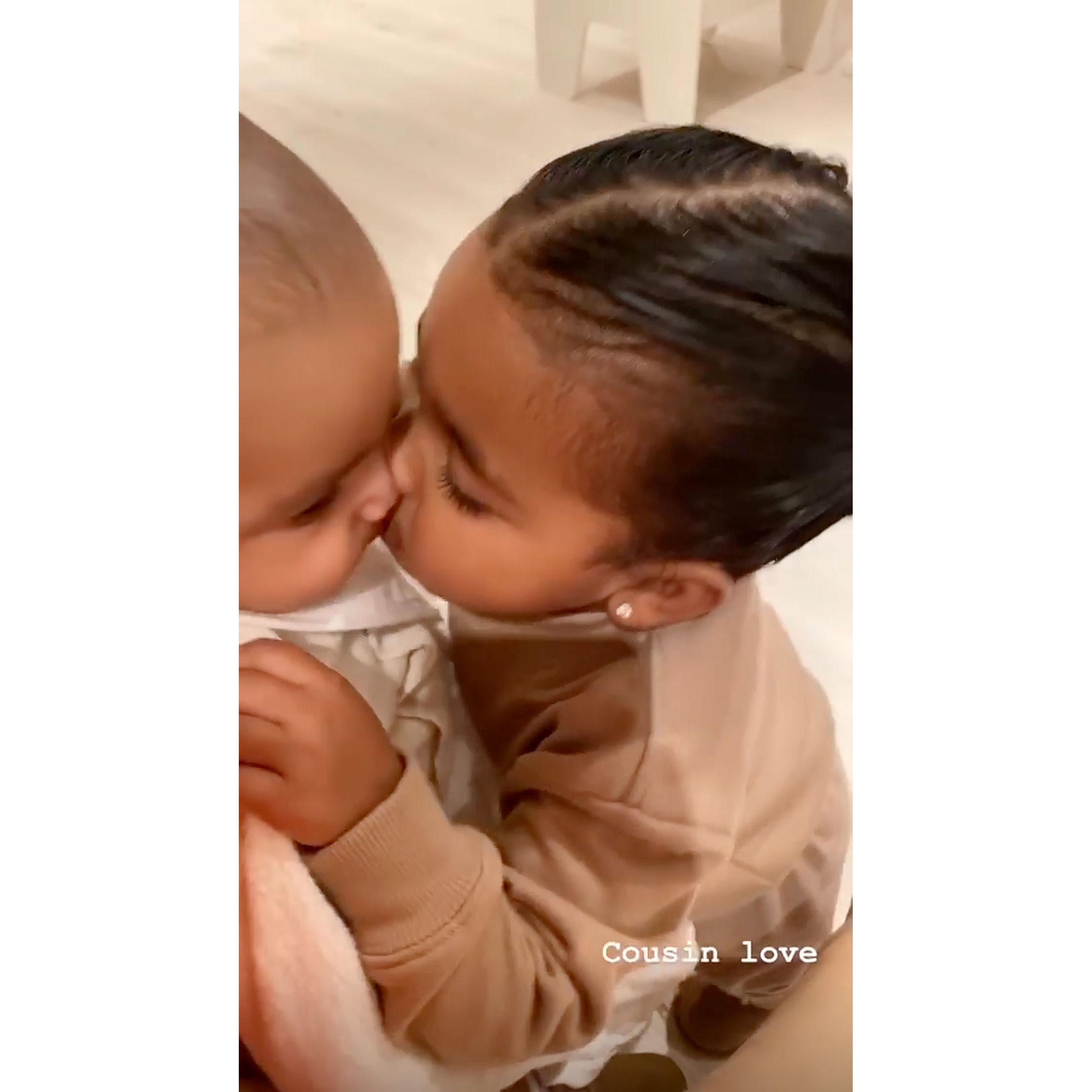 Khloe Kardashians Daughter True Kisses Kim Kardashians Son Psalm
