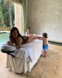 Kourtney Kardashian's Daughter Penelope and Son Reign Rub Her Feet
