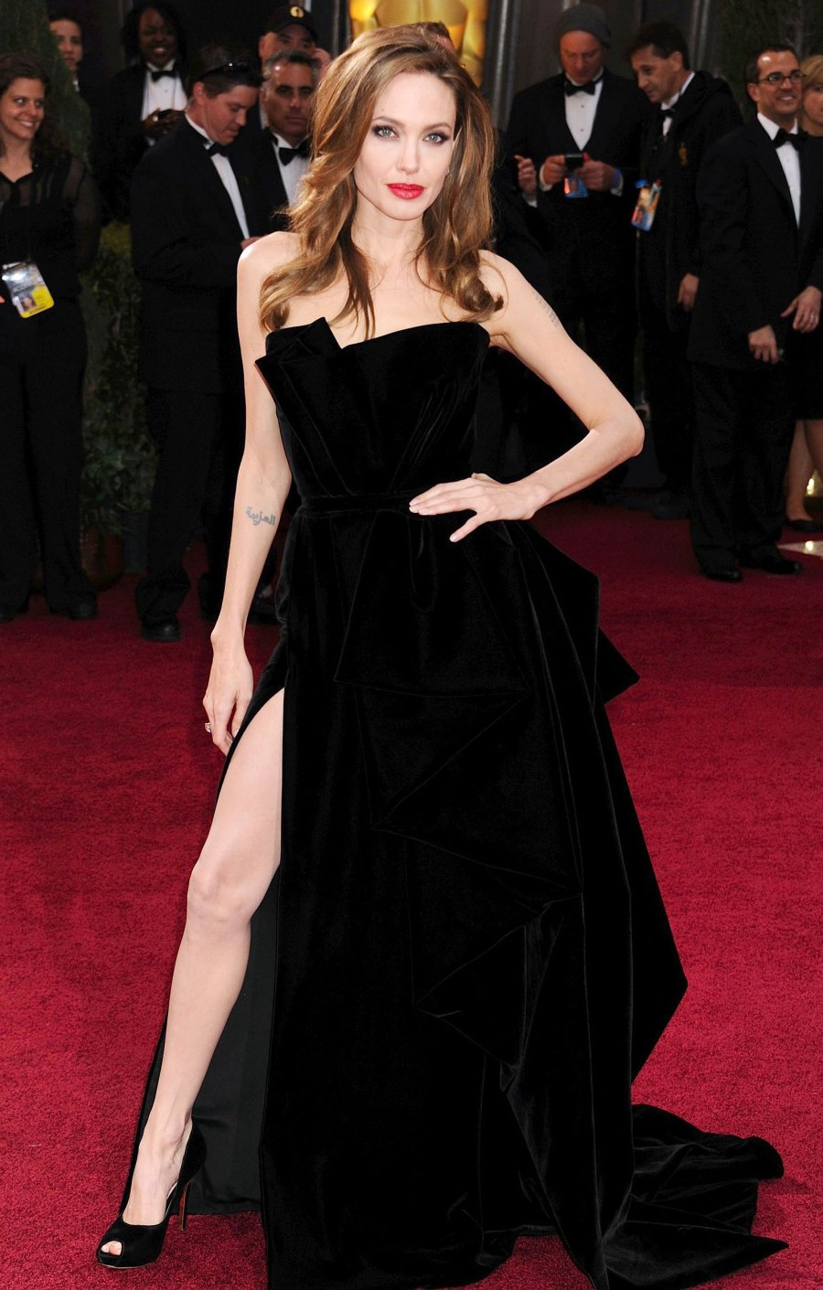 Most Stylish Moments of the Decade - Angelina Jolie's Leg Post at the 2012 Oscars