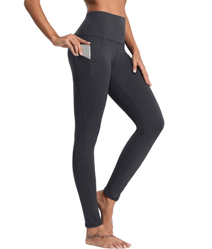 Oalka Women Power Flex Yoga Pants (Out Side Pockets Charcoal)