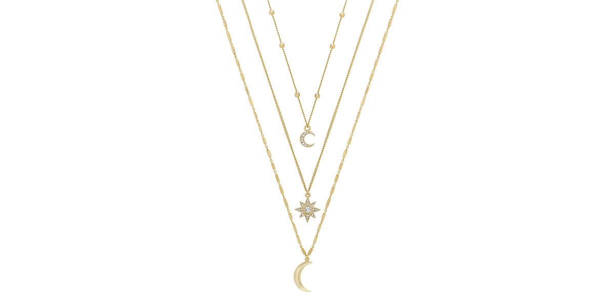 Ettika Set of 3 Celestial Pendant Necklaces
