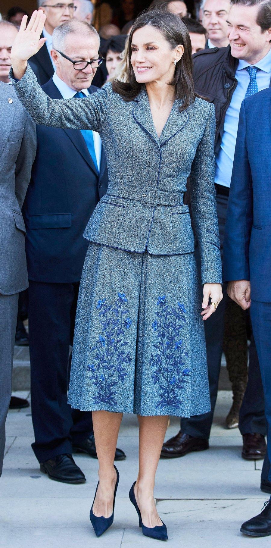 Queen Letizia Grey Skirt December 5, 2019