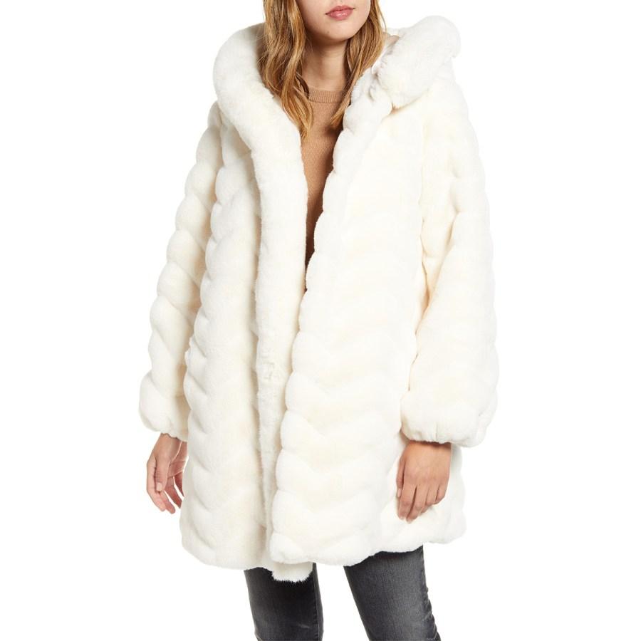 Faux Fur Hooded Swing Coat