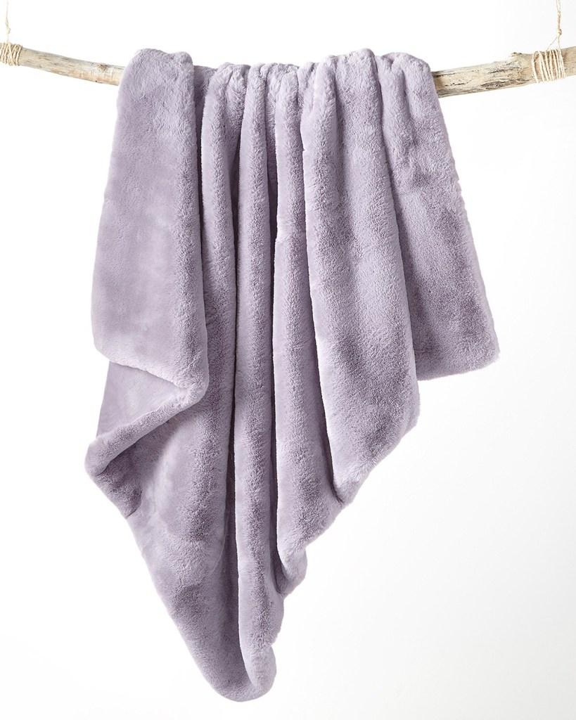 Martha Stewart Collection Solid Faux Fur Throw