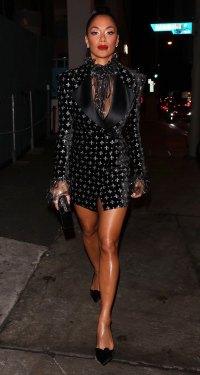 Nicole Scherzinger Tuxedo Minidress January 23, 2020