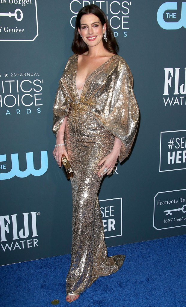 Anne Hathaway's Second Child Is a Boy Critics' Choice 2020 Wearing Atelier Versace