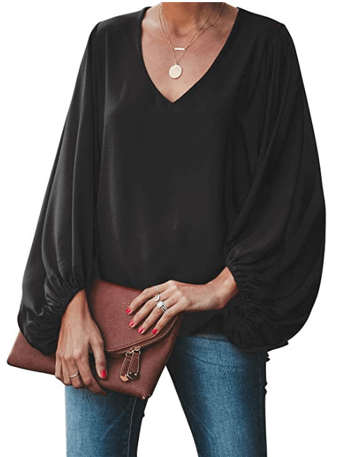 BELONGSCI Women's Balloon Sleeve V-Neck Blouse (Black)