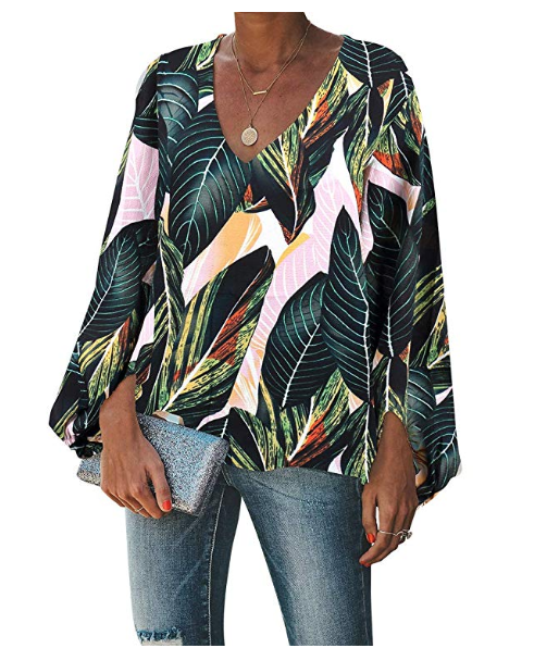 BELONGSCI Women's Balloon Sleeve V-Neck Blouse (Green Leaf)