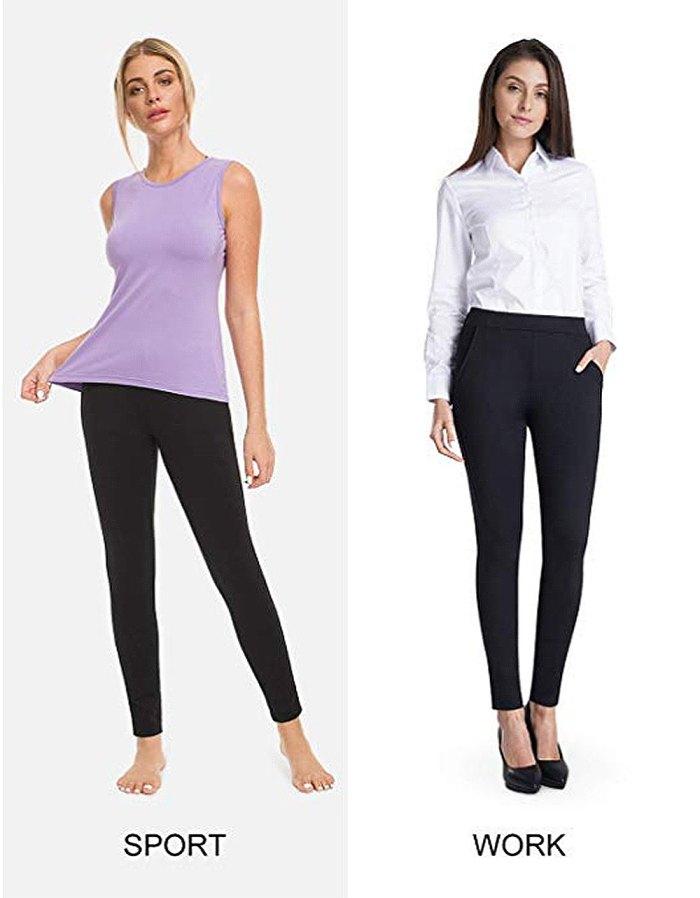 Pantalones de vestir de yoga elásticos y ajustados para mujer de Bamans
