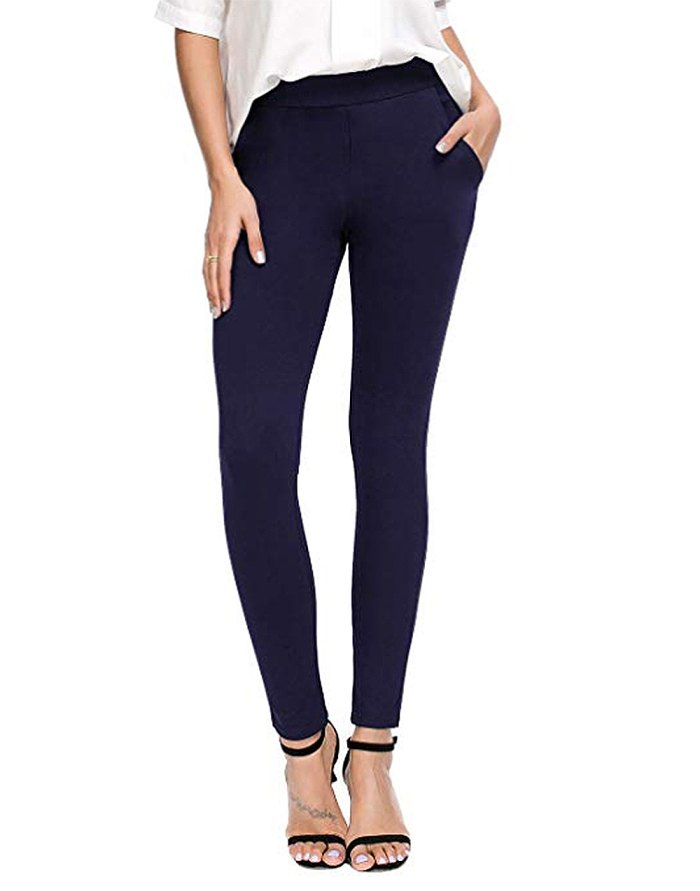 Pantalones de vestir de yoga ajustados y ajustados para mujer de Bamans (azul)