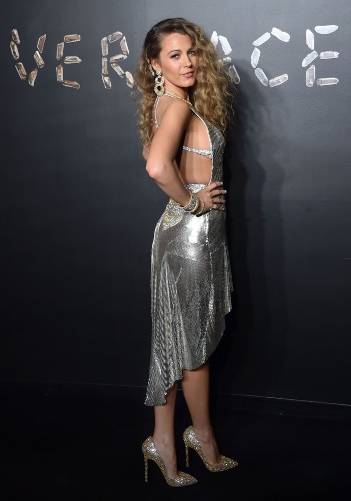 Blake Lively Misses Her Abs Wearing Versace, Shoes By Christian Louboutin