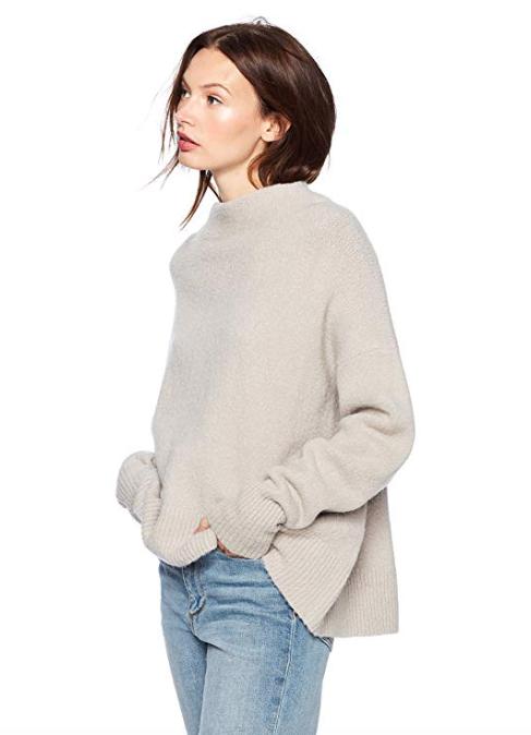 Cable Stitch Women's Mock Neck Cozy Sweater (Light Grey)