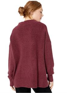 Cable Stitch Women's Mock Neck Cozy Sweater (Wine)