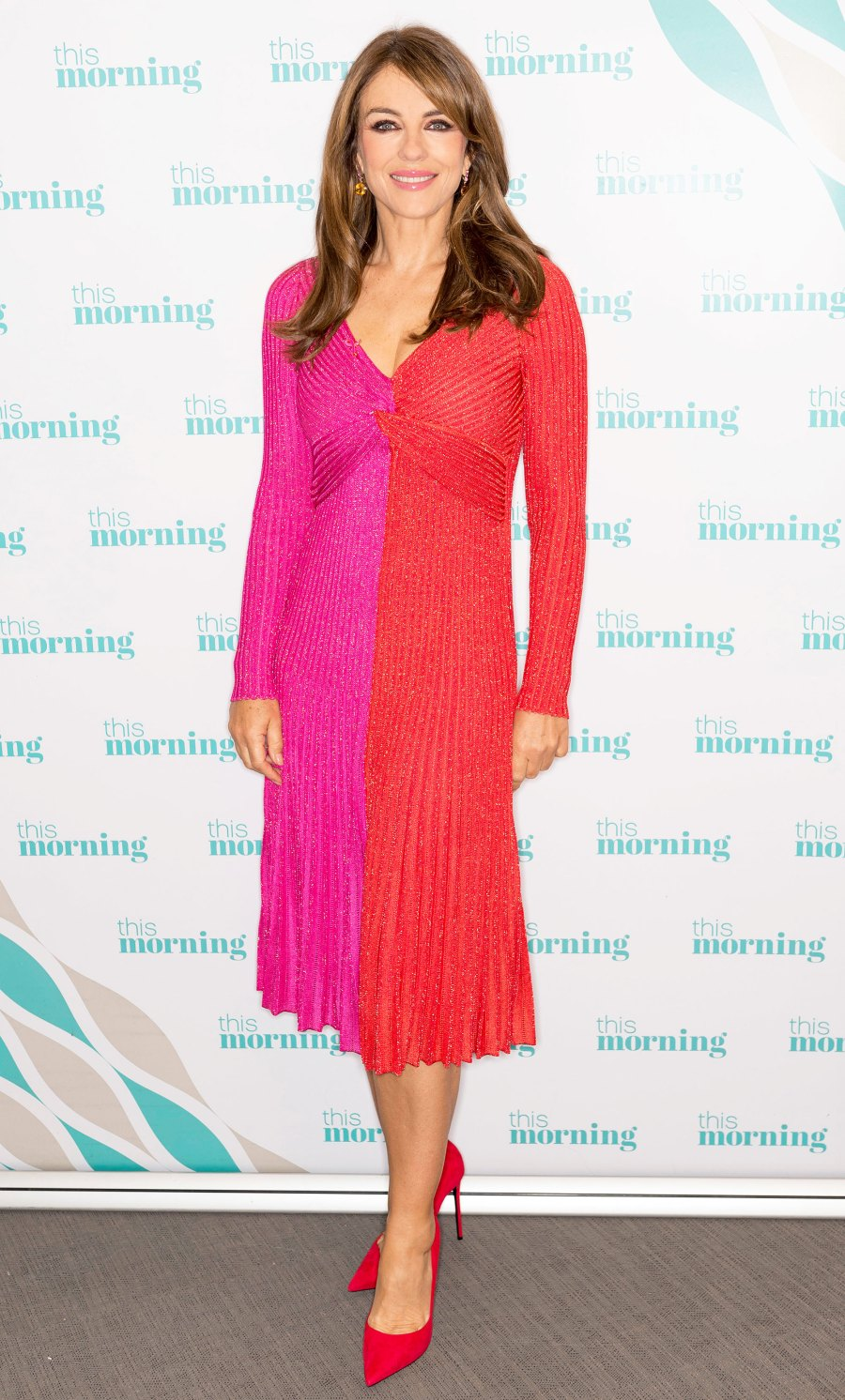 Celebs Wearing Red and Pink - Elizabeth Hurley