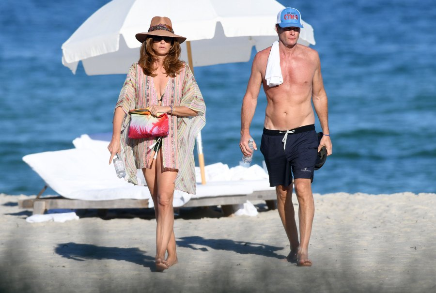 Cindy Crawford Bikini and Rande Gerber Beach New Years Day