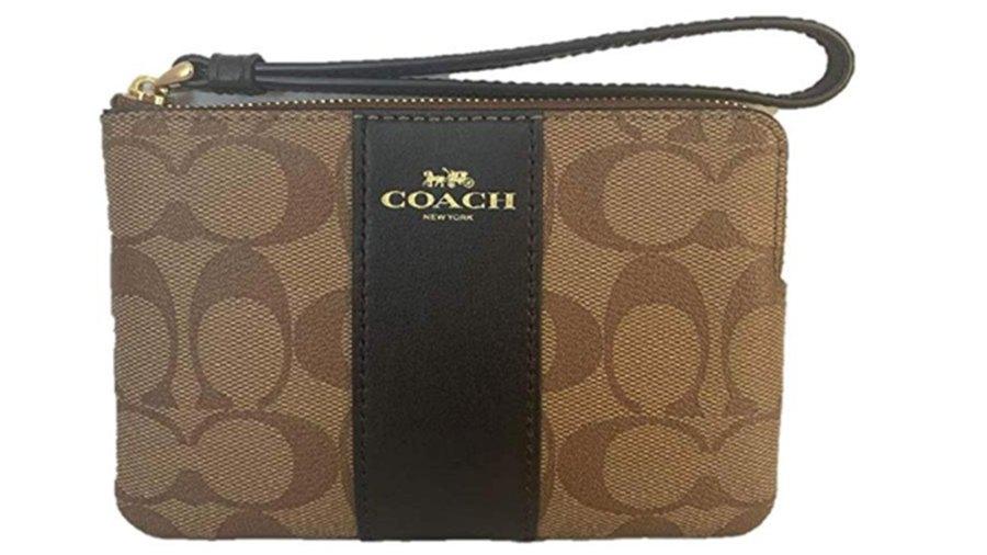 Coach Signature PVC Leather Corner Wristlet