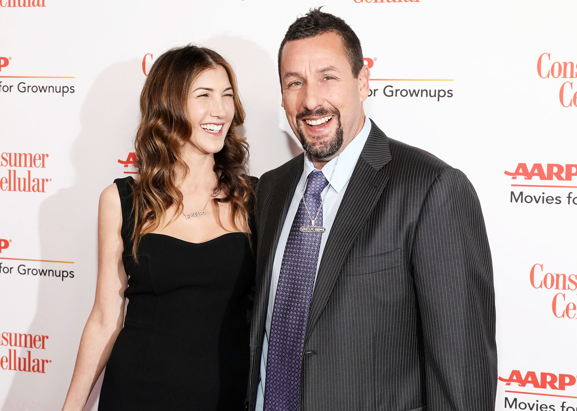 Jackie Sandler and Adam Sandler attend the AARP 19th Annual Movies For Grownups Awards Adam Sandler Talks Jennifer Aniston Friendship and Murder Mystery Sequel