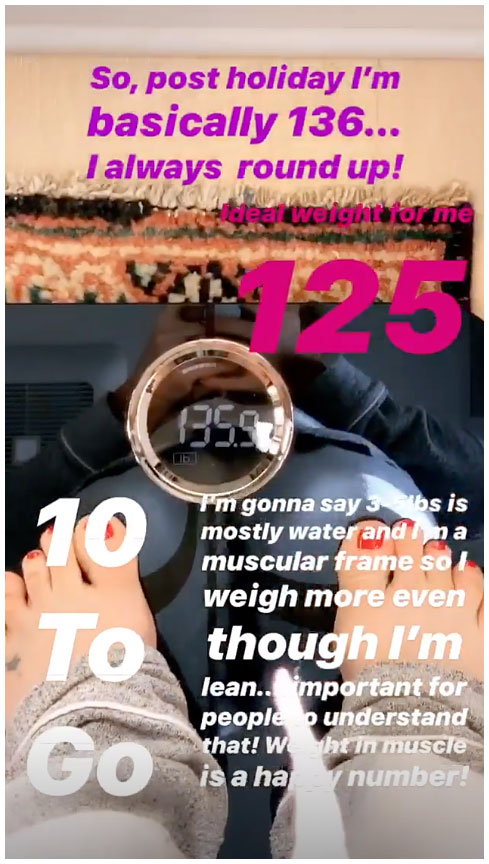 Kate Hudson Instagram Story Weight