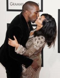 Kim-Kardashian-West,-Kanye-West-PDA-Grammys