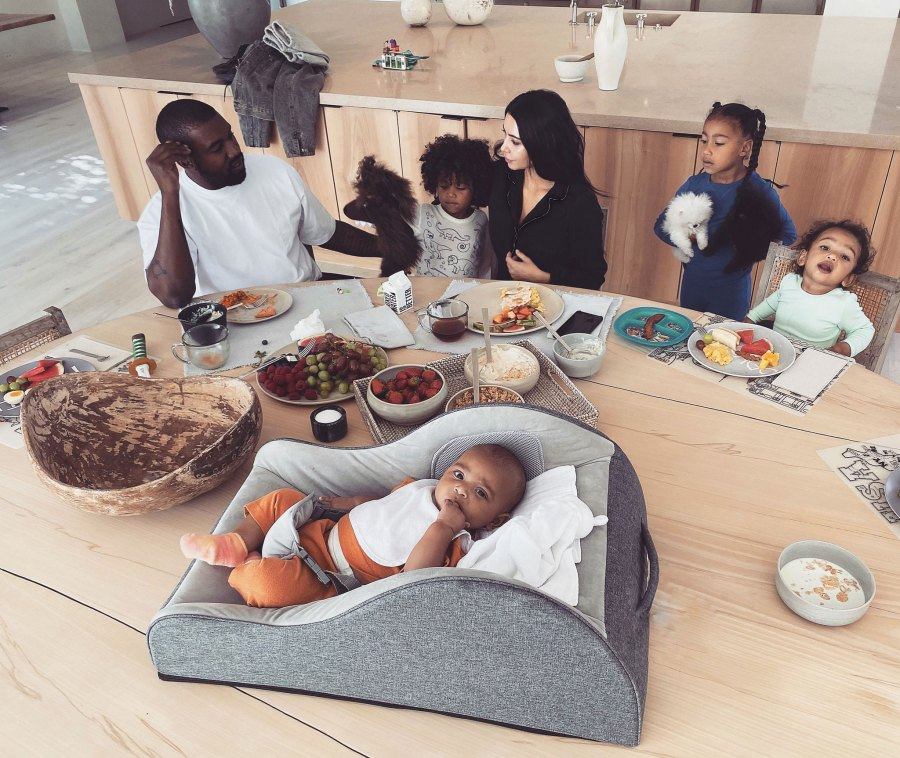 Kim Kardashian and Kanye West with Four Children and Morning Madness