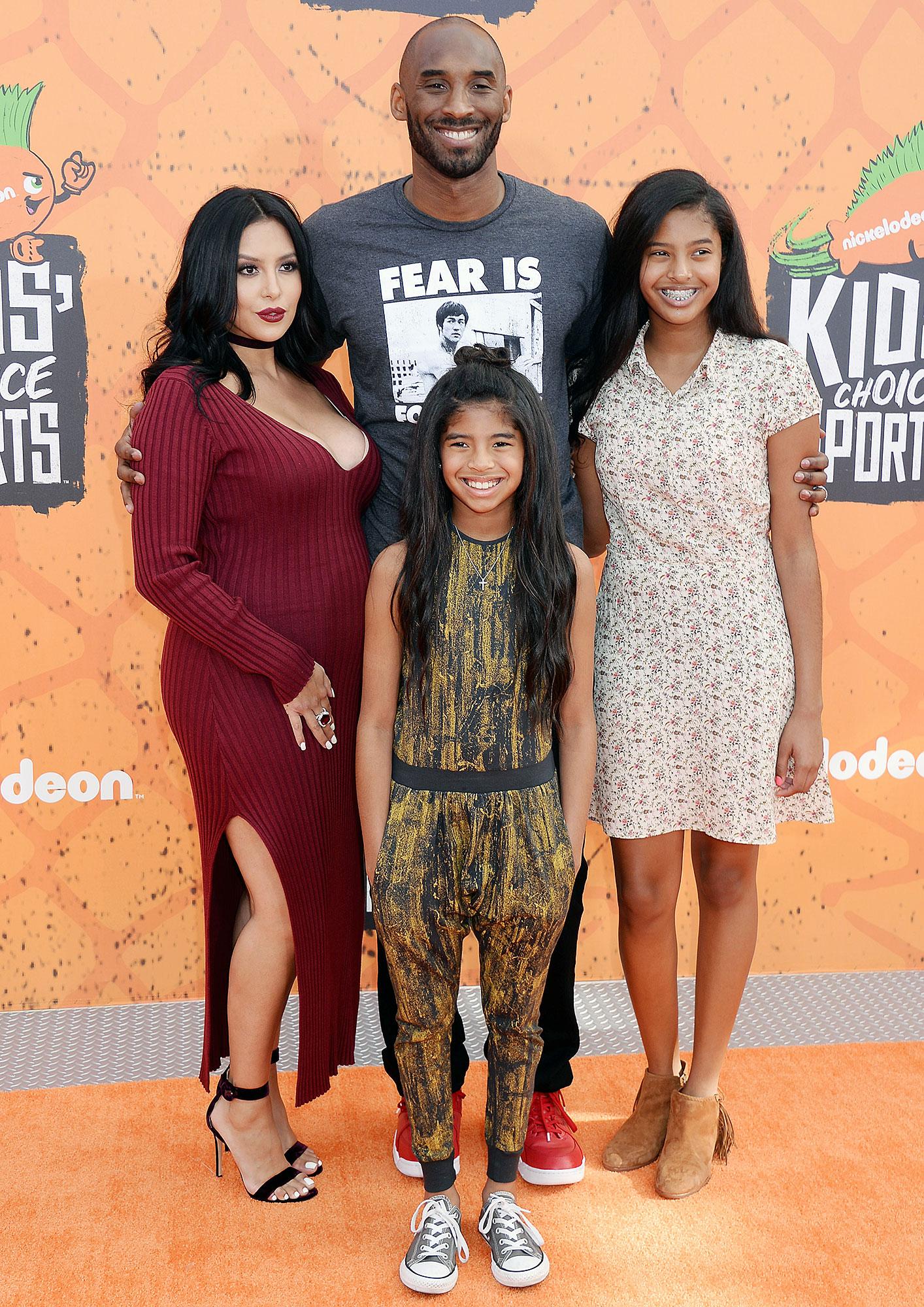 Kobe Bryant with Wife Vanessa and Daughters Natalia and Gianna
