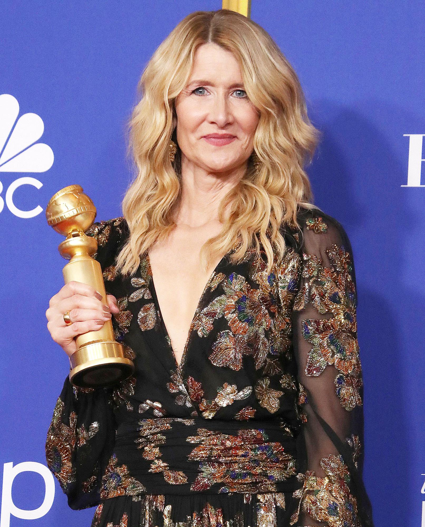 Laura Dern with her Golden Globe Award reveals why she cried during Ellen Degeneres Golden Globes acceptance speech