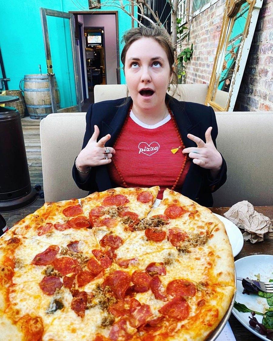 Lena Dunham Pizza Billie Lourd Instagram
