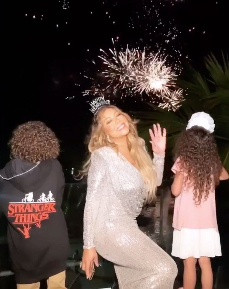 Mariah Carey Watching Fireworks with Kids How the Stars Celebrated New Years Eve 2020