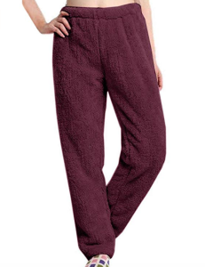Nulibenna Womens Knitted Casual Soft Lounge Pants (Wine Red)