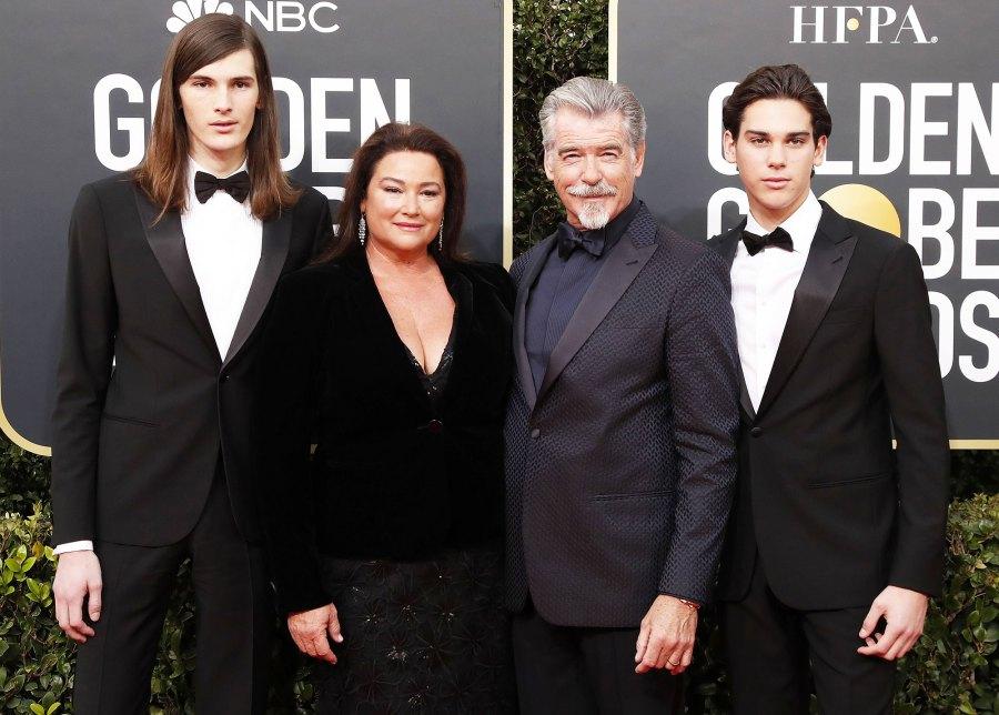 Paris Brosnan Keely Shaye Smith Pierce Brosnan and Dylan Brosnan at Golden Globes 2020