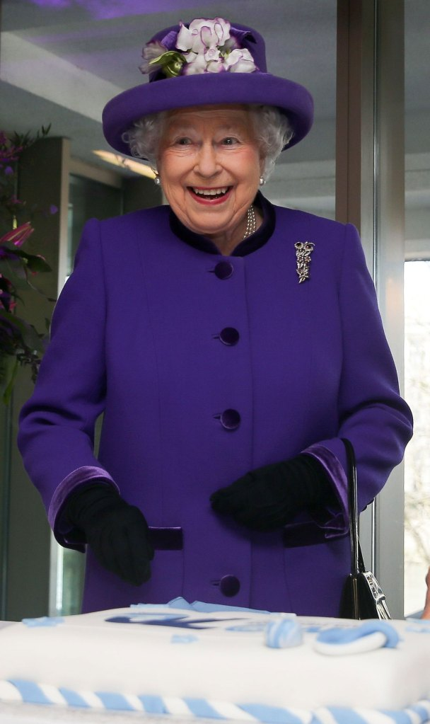 Queen Elizabeth II Cutting Cake Purple Jacket Purle Hat