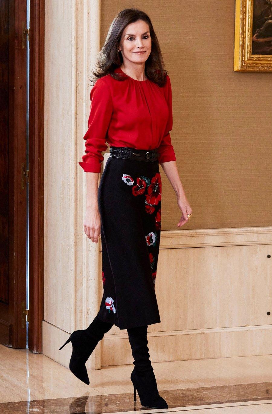 Queen Letizia Floral Skirt January 14, 2020
