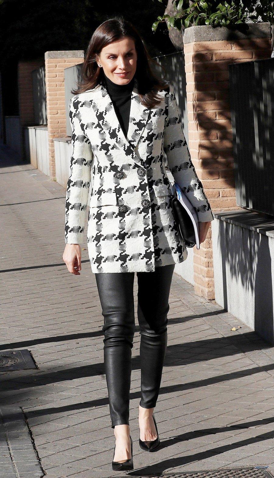 Queen Letizia Houndstooth Blazer January 9, 2020