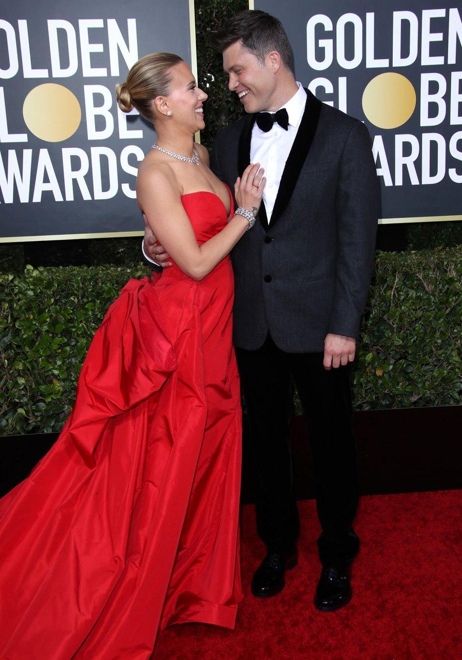 Golden Globes 2020 Scarlett Johansson Colin Jost S Red Carpet Pics