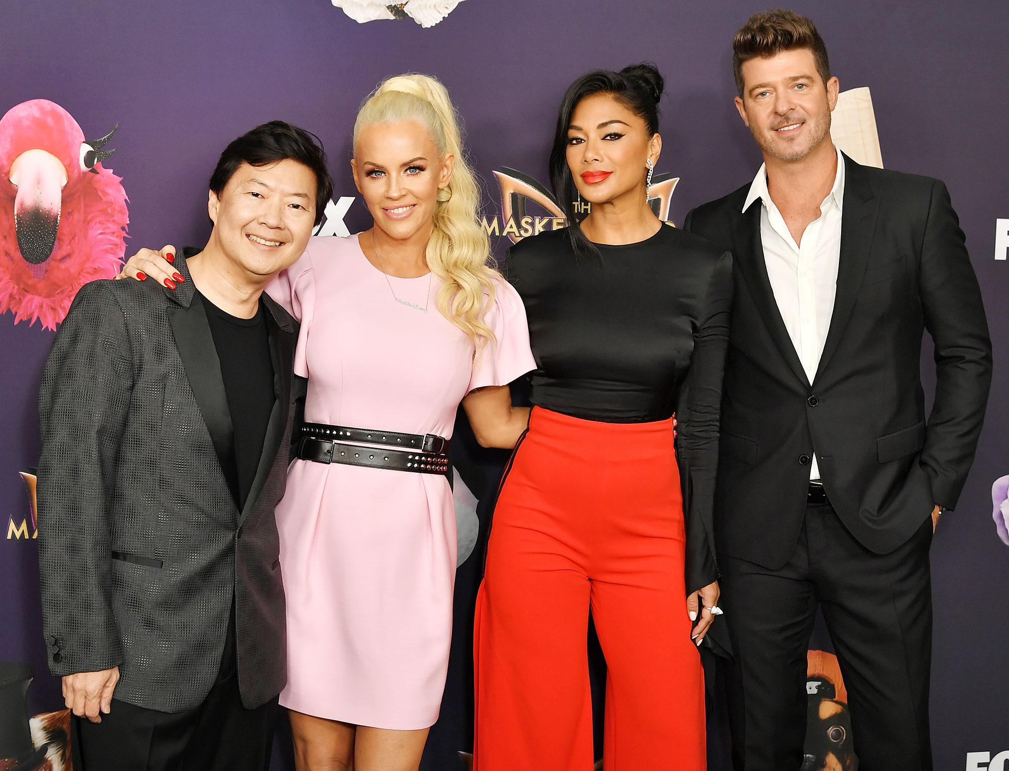 Ken Jeong Jenny McCarthy Nicole Scherzinger and Robin Thicke Jenny McCarthy Teases Massive Stars Coming to Masked Singer Season Three