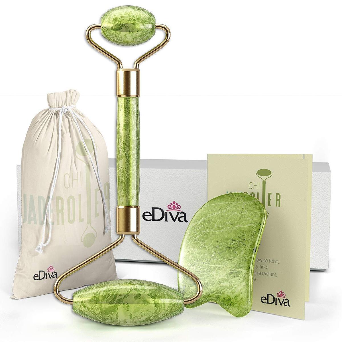 eDiva Natural Jade Roller + Gua Sha set