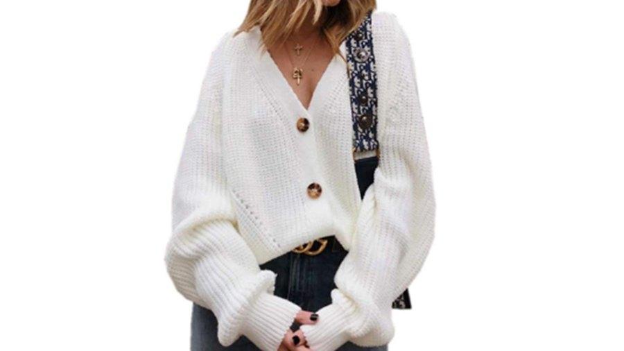 Assdan Women's V Neckline Button-Down Sweater