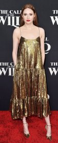 Karen Gillan Gold Dress February 13, 2020