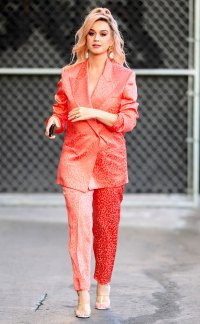 Katy Perry Coral Printed Suit February 12, 2020