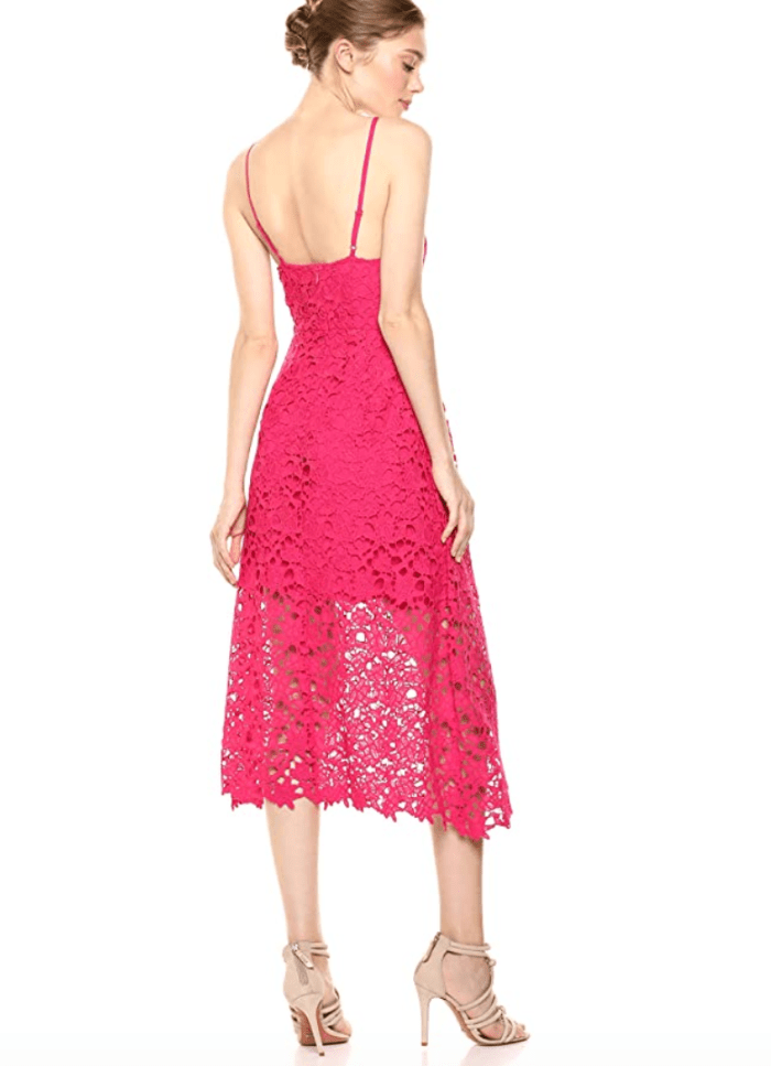 ASTR the Label Lace Midi Dress (Fuchsia)