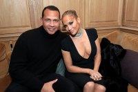 Alex Rodriguez and Jennifer Lopez attend the CAA Pre-Oscar Party