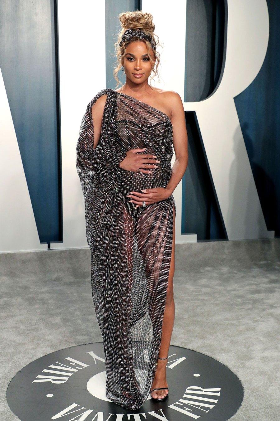 Ciara Vanity Fair Oscar Party Wearing Ralph and Russo Sheer Dress Oscars 2020 Oscars Baby Bumps