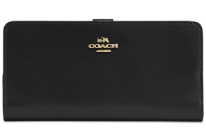 Coach Skinny Wallet in Refined Leather (Black/Gold)