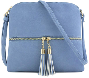 DELUXITY Lightweight Medium Crossbody Bag with Tassel