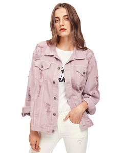 Floerns Women's Ripped Distressed Casual Long Sleeve Denim Jacket (Pink)