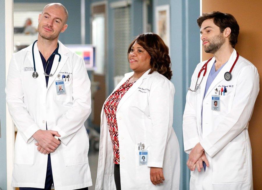Richard Flood, Chandra Wilson, and Jake Borelli Grey's Anatomy