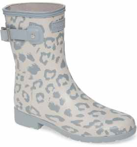 Hunter Original Leopard Print Refined Short Waterproof Rain Boot